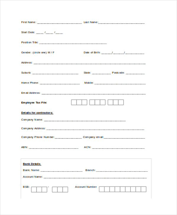 basic review form for employee
