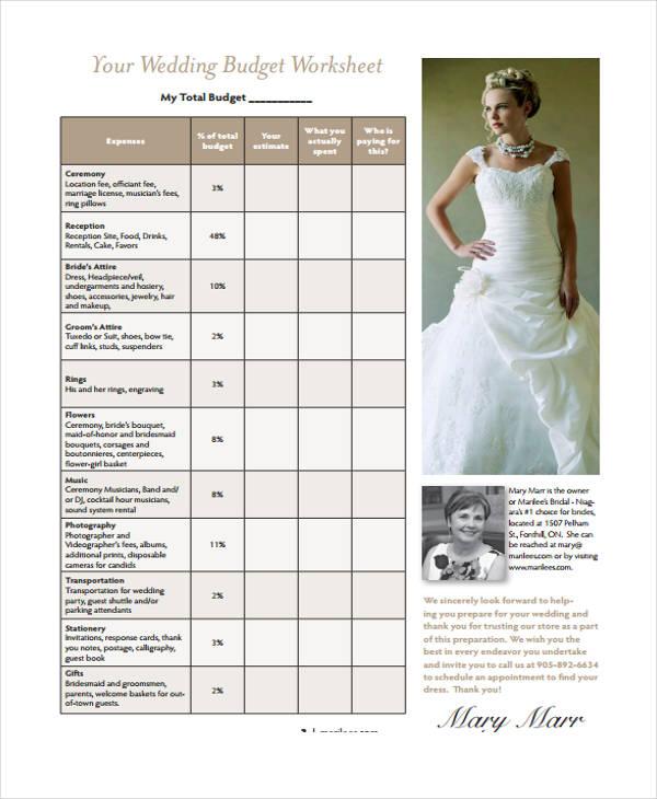 basic wedding budget form