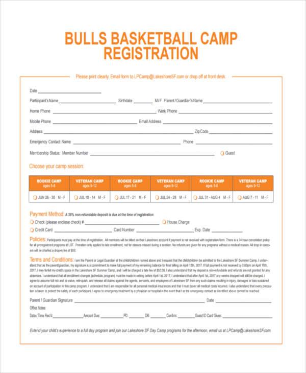 basketball camp registration