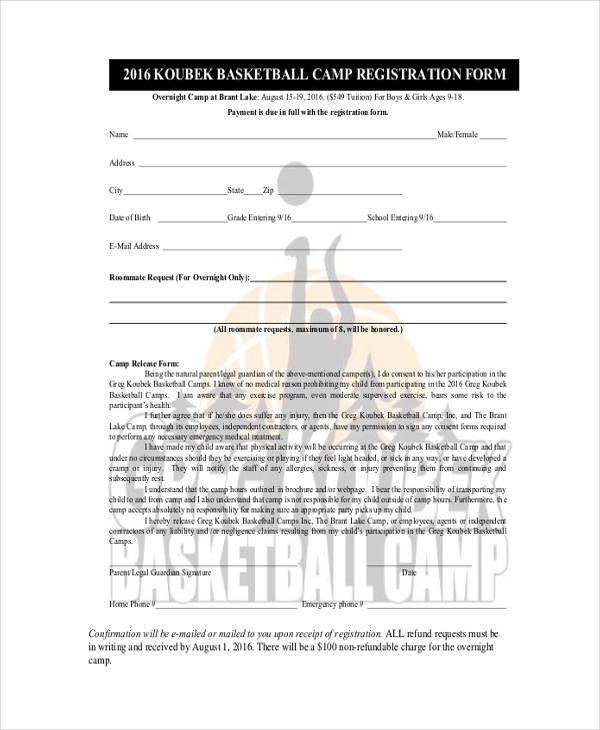 Basketball Registration Form Template  Free Basketball Evaluation