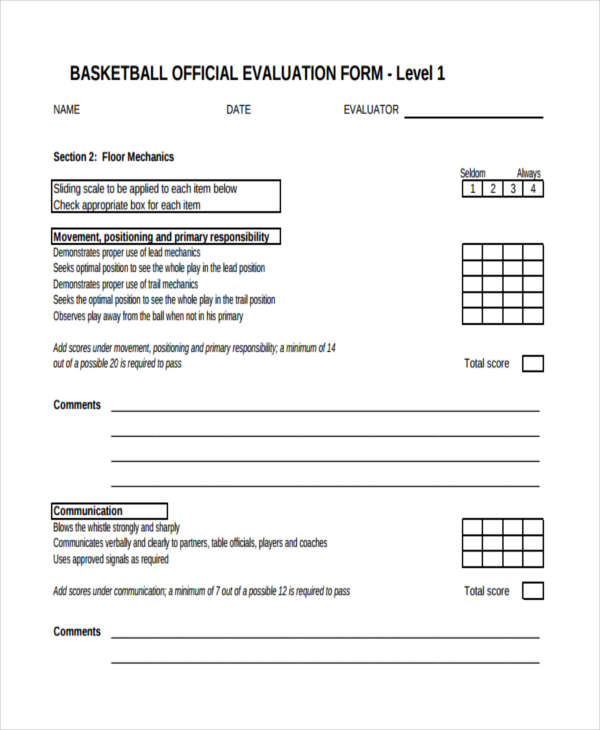9+ Basketball Evaluation Form Samples - Free Sample, Example ...