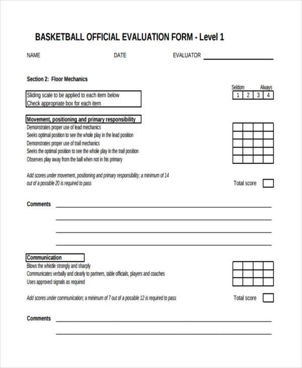 basketball tryout evaluation form pdf