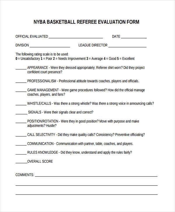 basketball referee evaluation