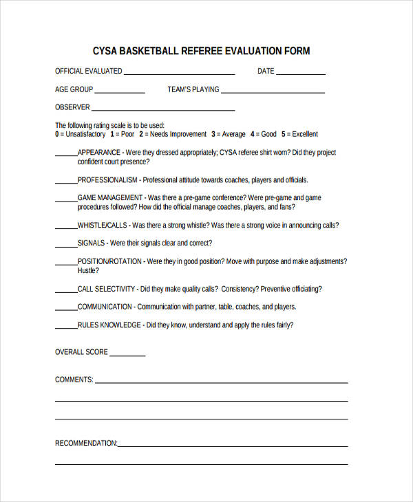Basketball Evaluation Form - 10+ Free Documents in Word, PDF