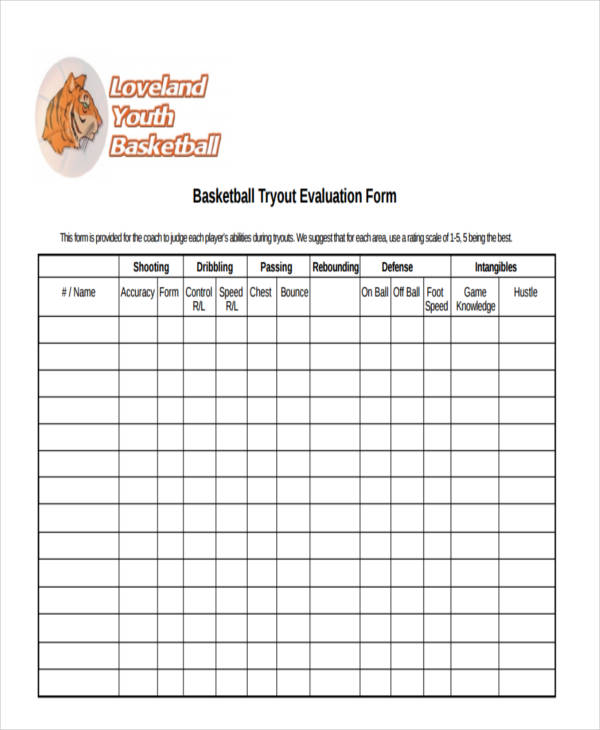 Basketball Evaluation Form   Free Documents In Word Pdf