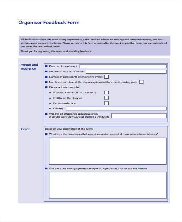 bio event organiser feedback form