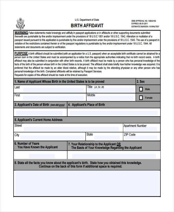 birth affidavit format