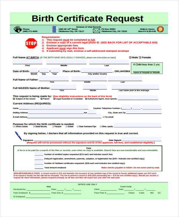 birth certificate request form