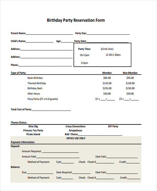 Sample Party Reservation Forms  Free Sample Example Format