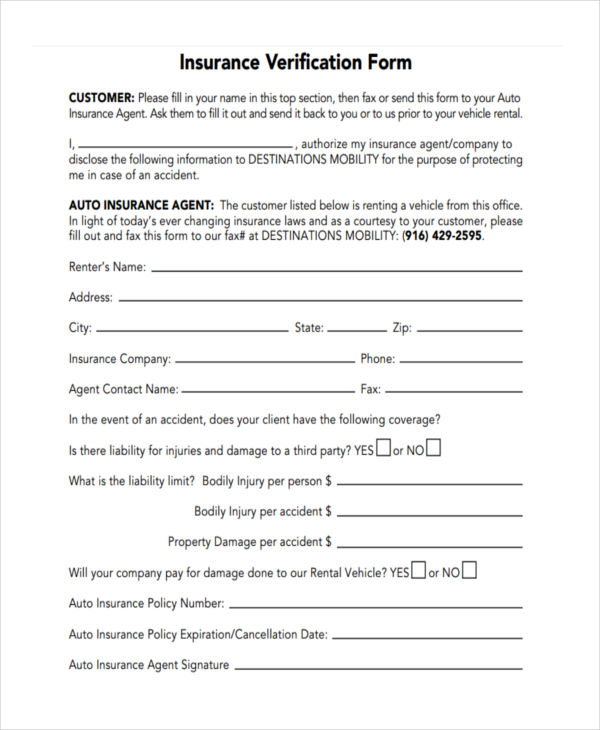 blank auto insurance verification form