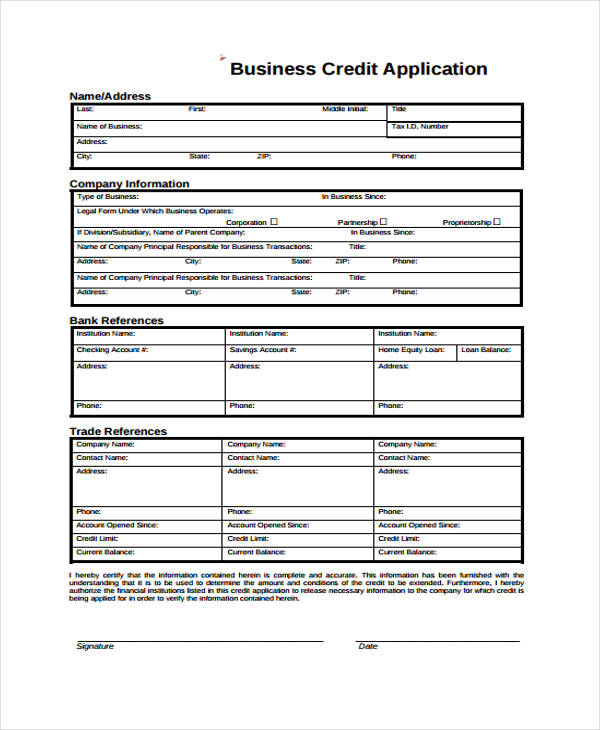 Business Credit Application Form  Free Sample Example Format