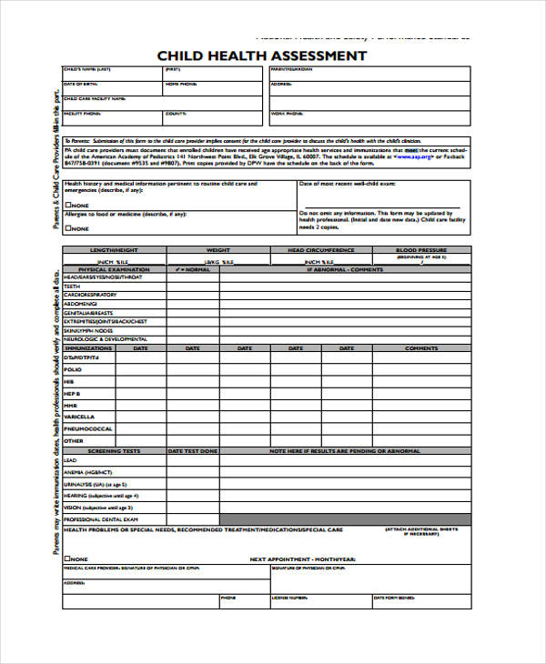 blank child health assessment form