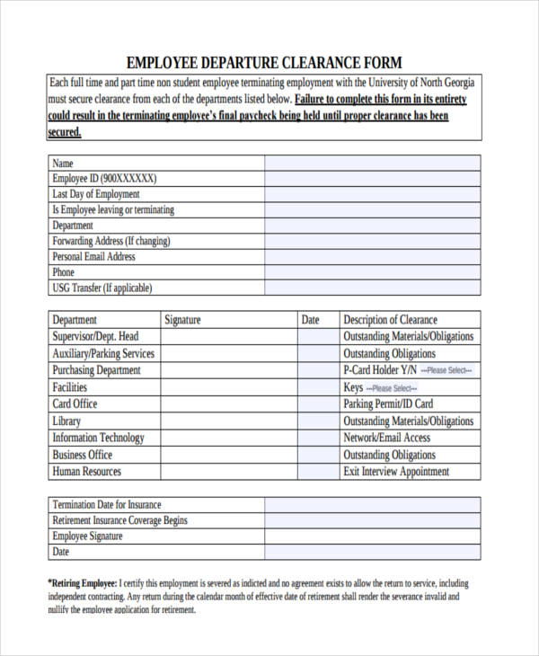 blank employee departure clearance form