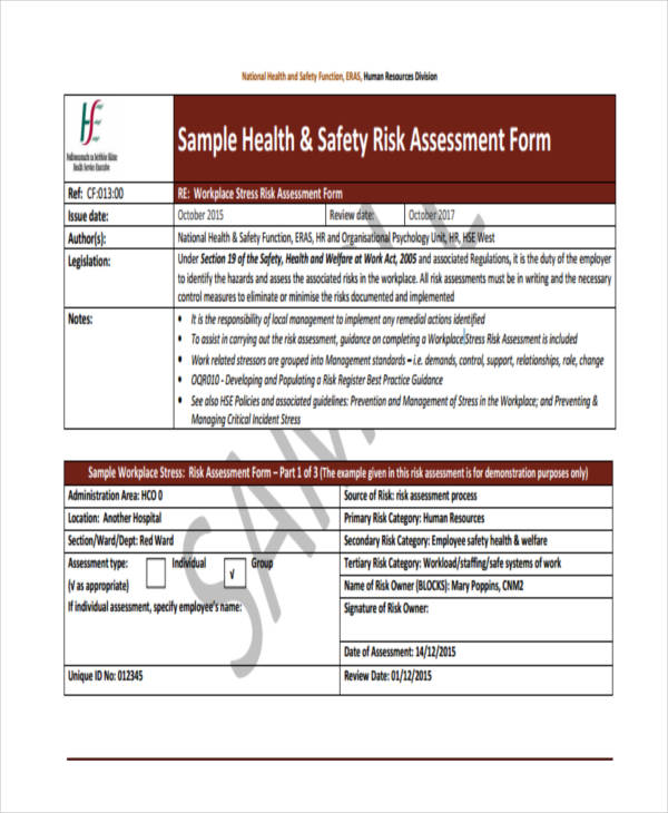 blank health and safety risk assessment form