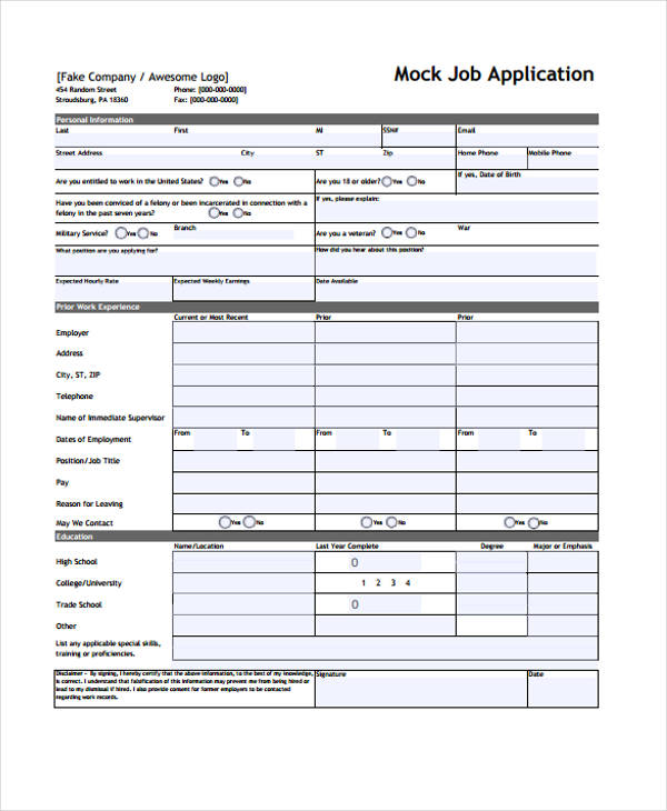 Sample Standard Job Application Form  Free Sample Example
