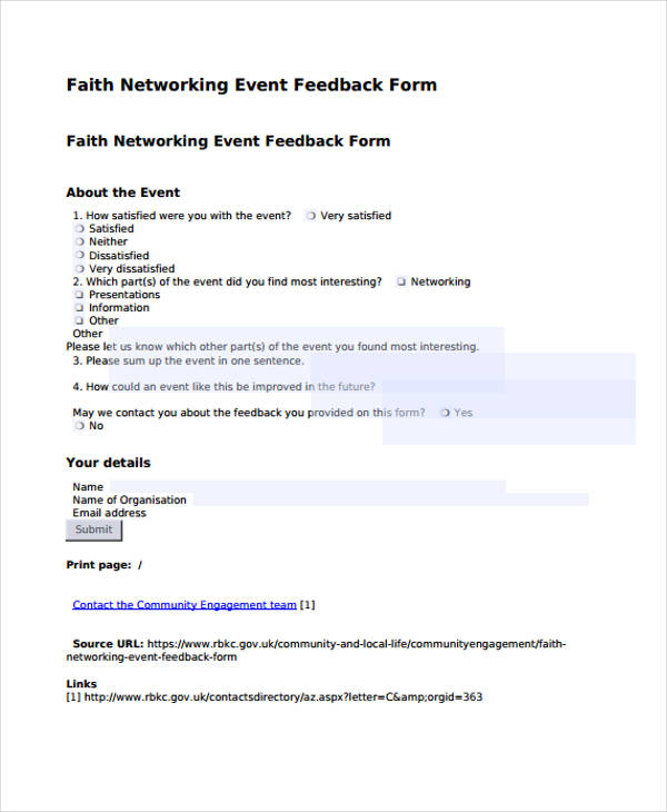 blank networking event feedback form