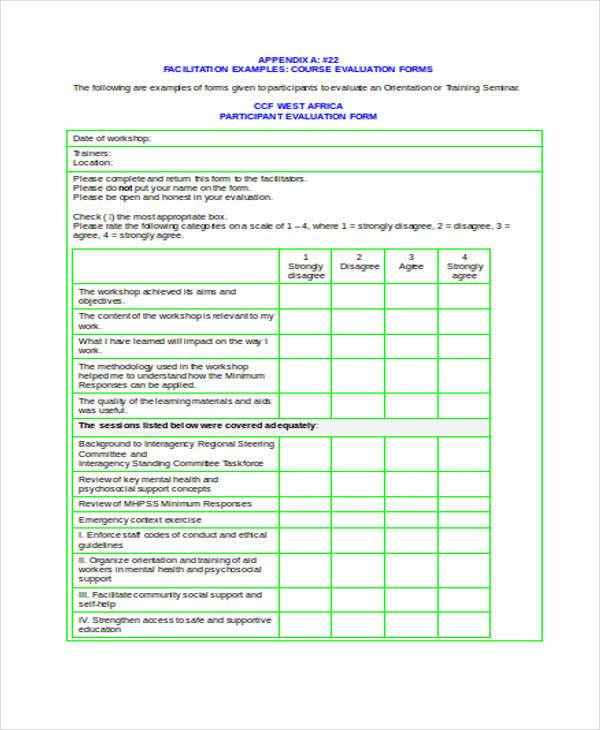 blank workshop participant evaluation form