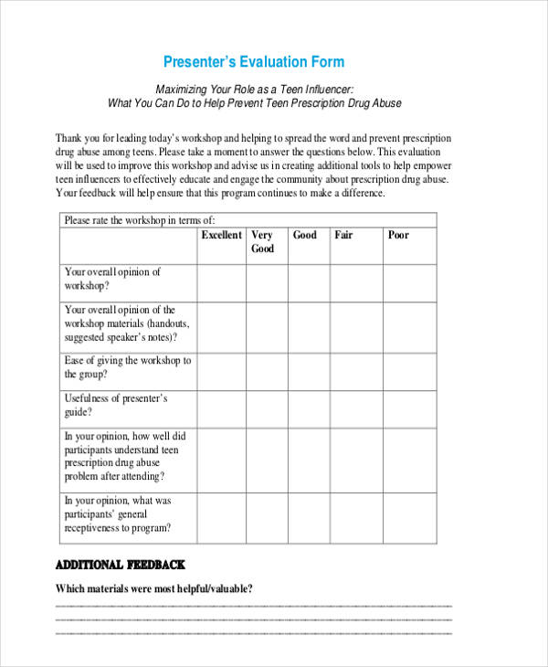 17 workshop evaluation form templates for Presenter evaluation form template