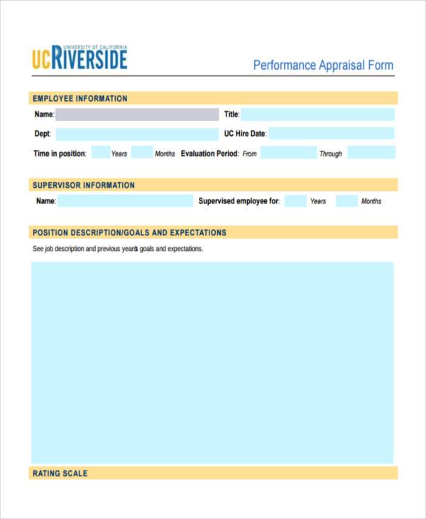 blank performance appraisal