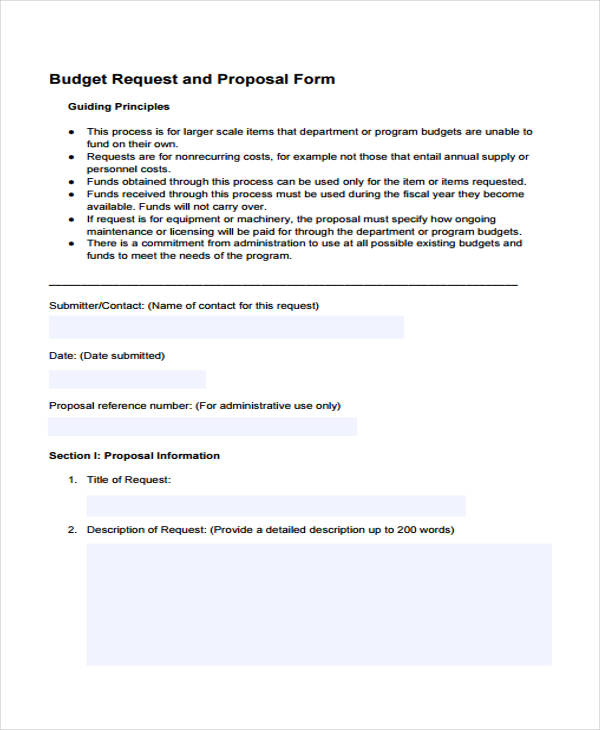 budget request proposal form
