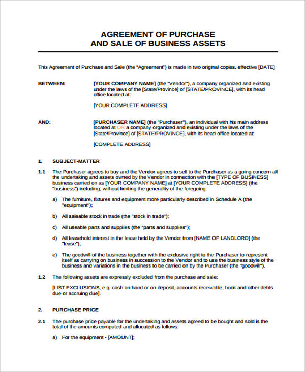 business assets sale form