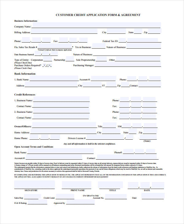 9 business credit application form free sample example format