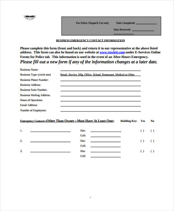 business emergency contact information form