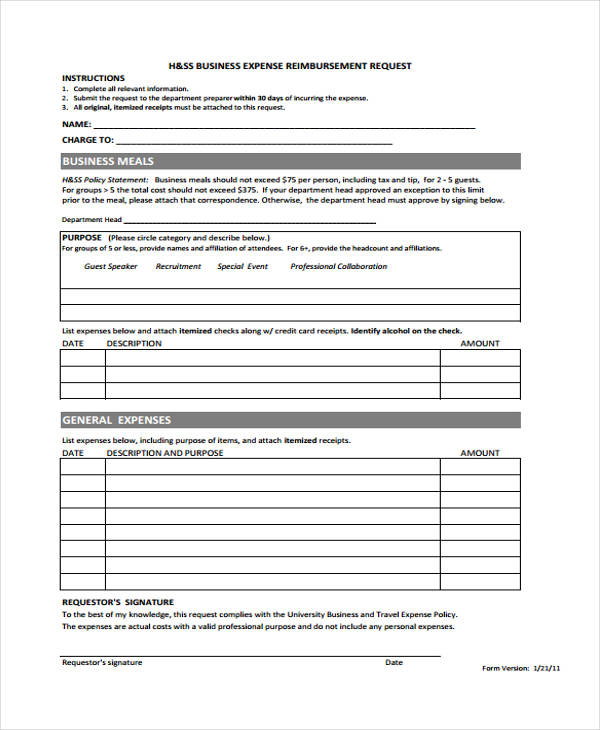 Business Expense Form Sample  Free Sample Example Format Download