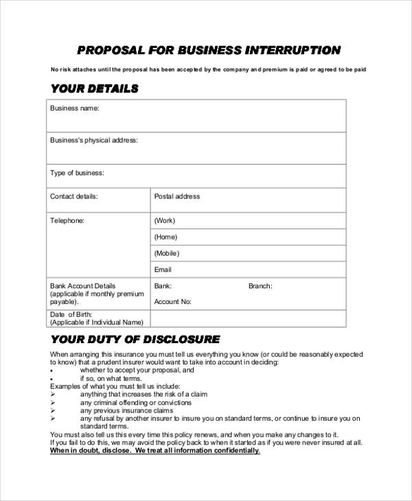 business interruption proposal form1