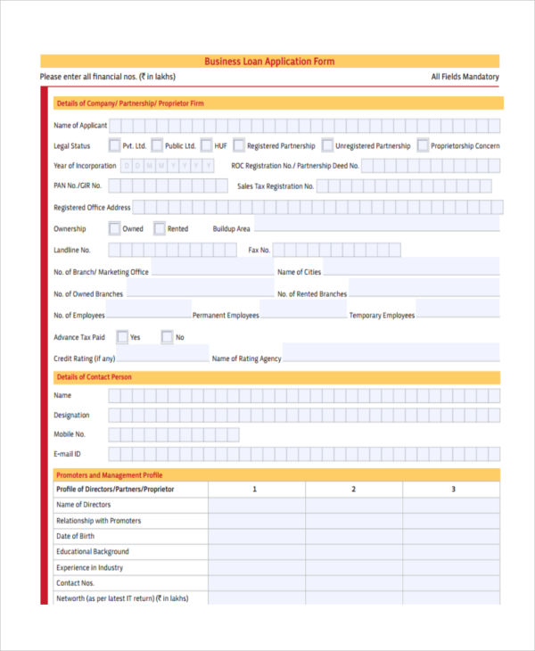business loan proposal form