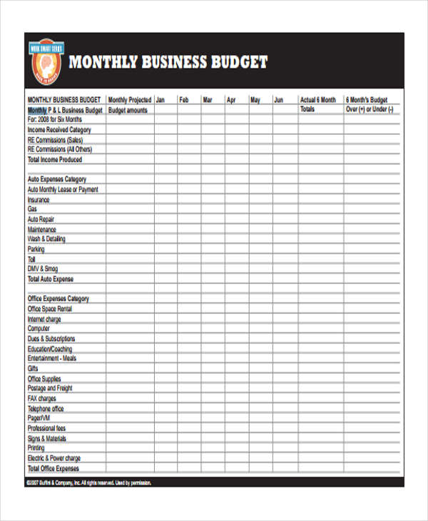 5  business budget form