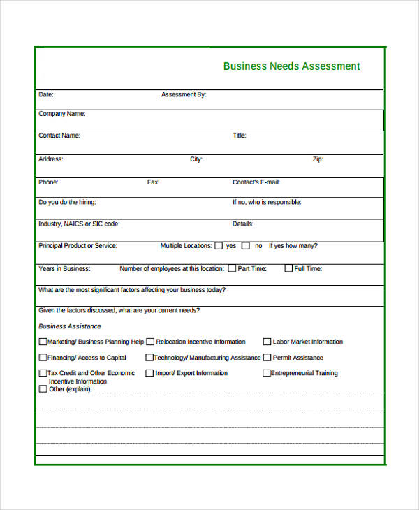 32 free needs assessment forms business needs assessment form fbccfo