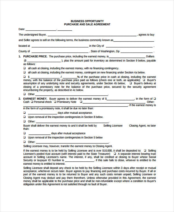 business opportunity sales agreement form