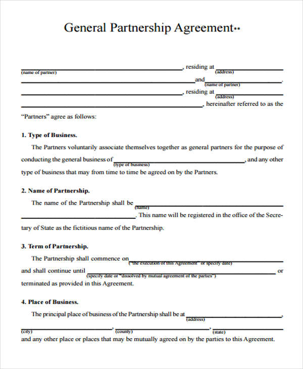 business partnership agreement form pdf