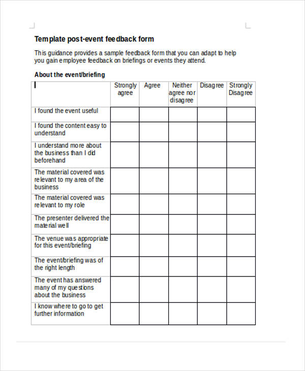 Business Post Event Feedback Form  Feedback Forms Template