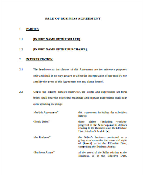 business sale agreement forms