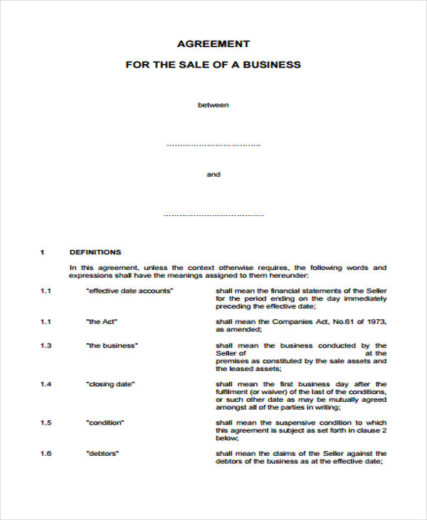 business sales agreement form example2