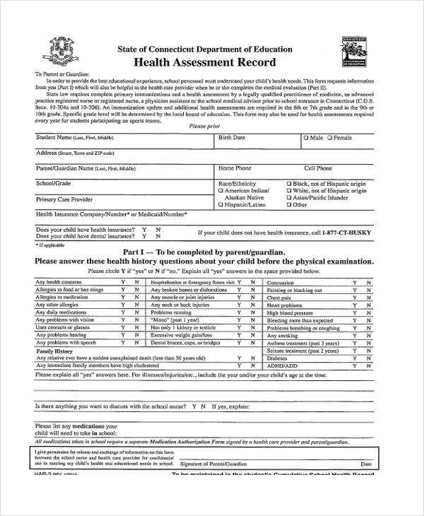 camp health assessment record form