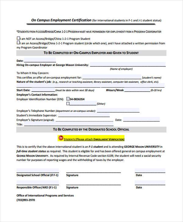 campus employment certification form