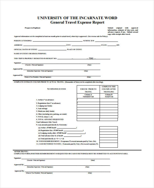 campus travel expense report form