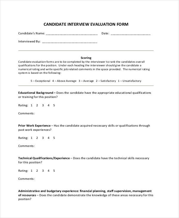 candidate interview assessment