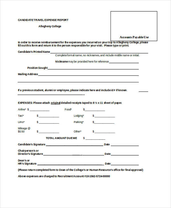 candidate travel expense report form