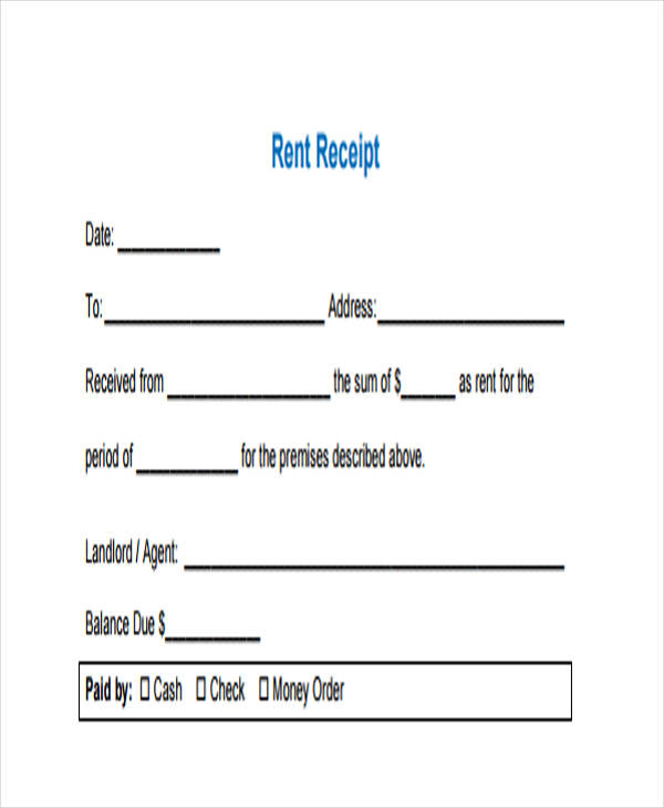 car rent receipt form