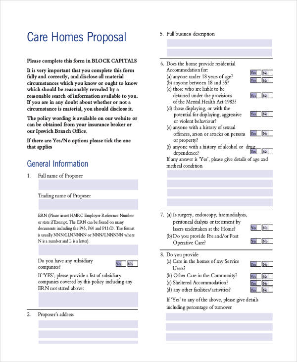 care home proposal form
