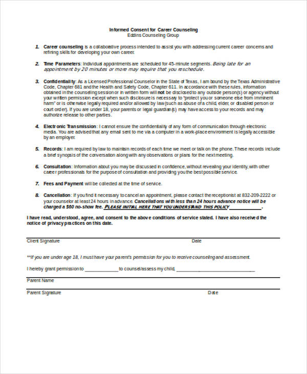 career counselling consent form