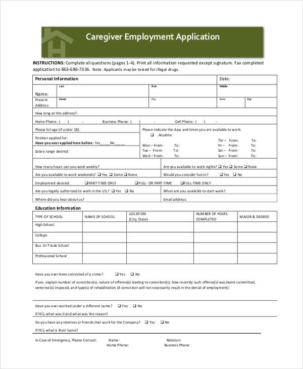 caregiver employee application form