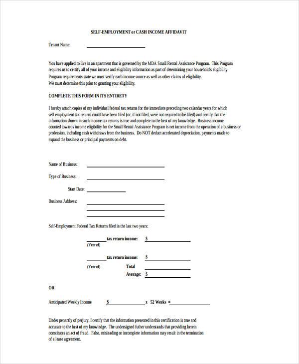 cash income affidavit