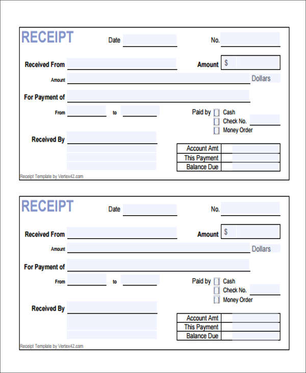 10 Payment Receipt Form Sample Free Sample Example Format Download – Fees Receipt Format