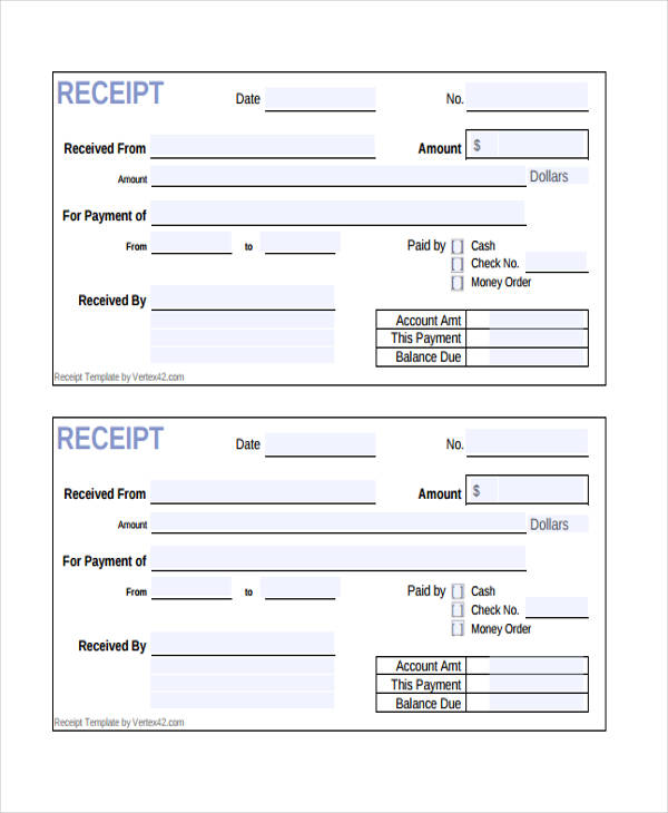 cash payment receipt form