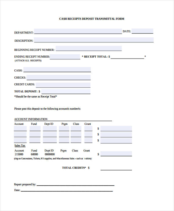 cash receipt transmittal form
